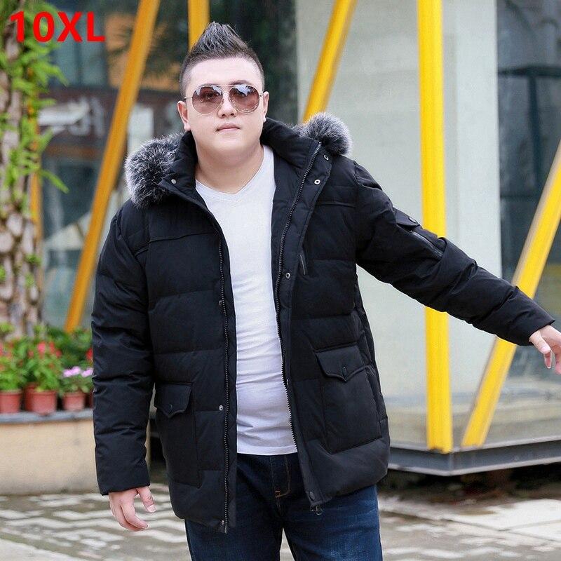 Zima popularne oraz nawozy XL męska kurtka puchowa bardzo duży płaszcz dużych ludzi z kapturem biznes na co dzień futro kołnierz utrzymać ciepłe w Kurtki puchowe od Odzież męska na  Grupa 1