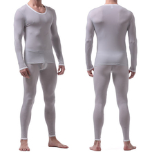 Sexy Male Long Johns Men's Thermal Underwear Sleepwear Ice Silk Lounge Tight Translucent Long Sleeve Undershirt Trousers Set