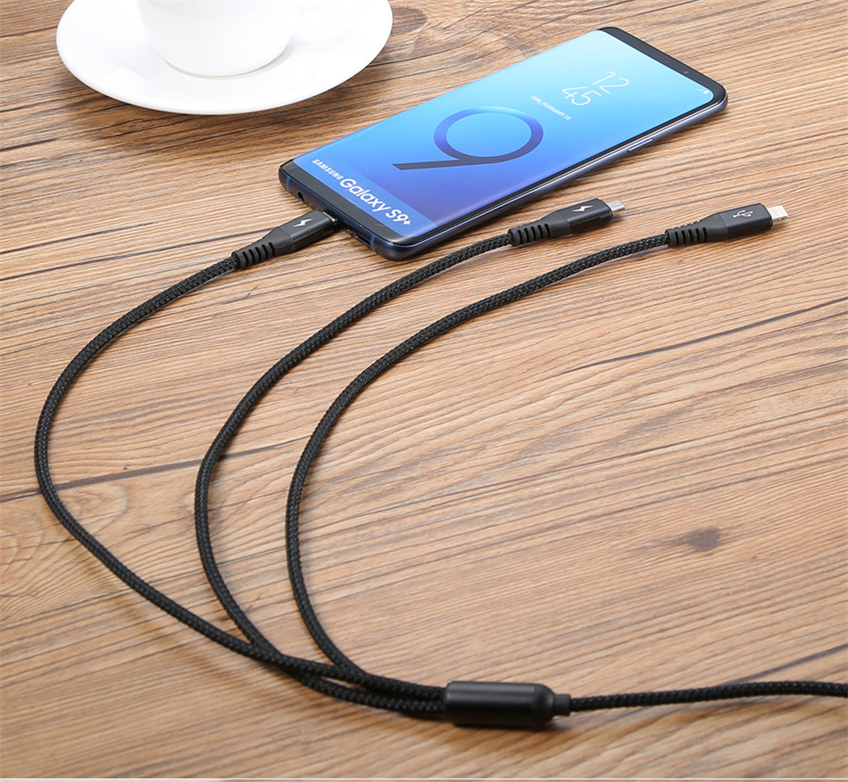 Benks Universal 3 In 1 Lighting Charger Cable For iPhone X 7 8 6 Plus Micro USB Type C For Oneplus Xiaomi 5 Phone Charging Cable (15)