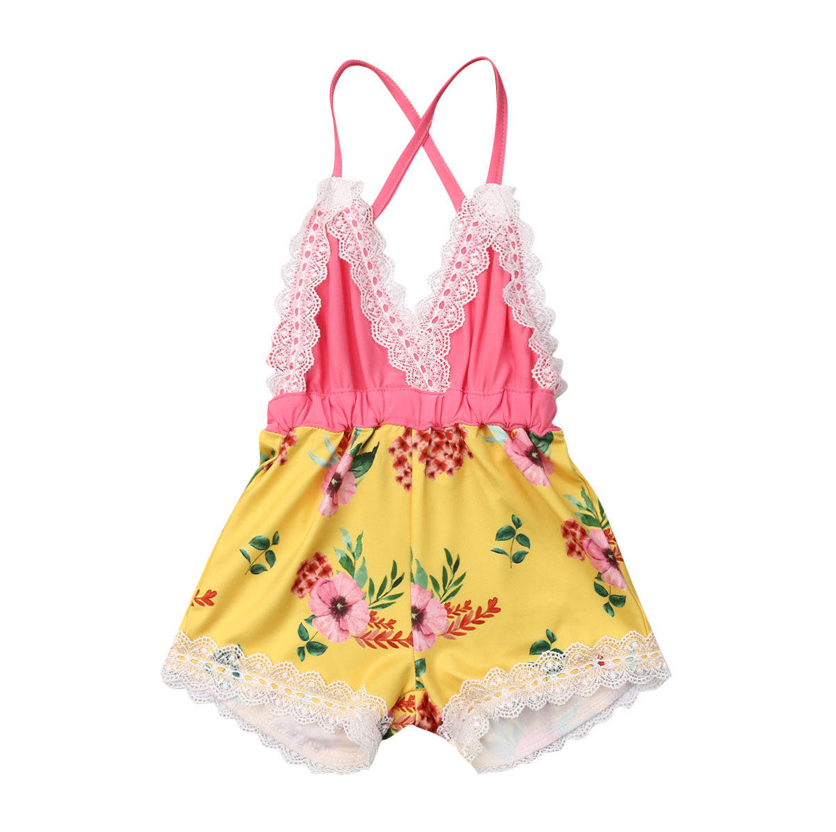 Summer Newborn Infant Baby Girl Flowers Clothes Lace Sleeveless Backless   Romper   Jumpsuit Playsuit 1Pc Outfit Clothing 0-24Months