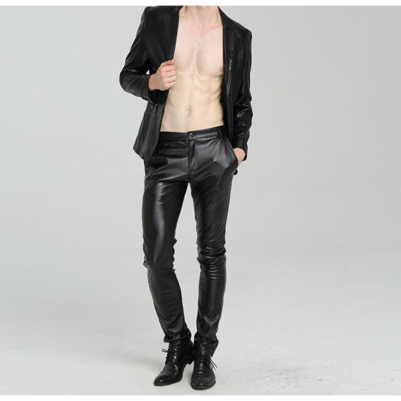 Plus size Pants Skinny Faux Leather Pants For Men Slim Fit Joggers PU leather Motorcycle Biker Tights Trousers image