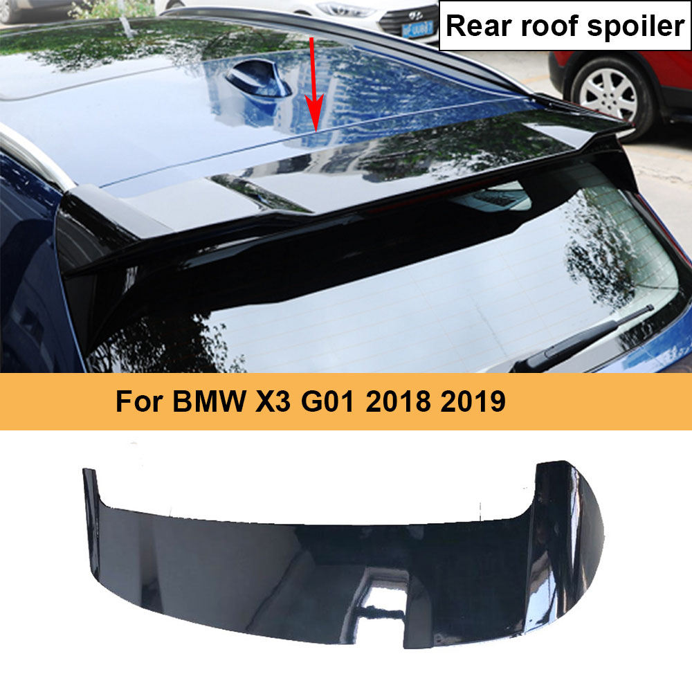 Car Rear Roof Spoiler Wing Lip for <font><b>BMW</b></font> <font><b>X3</b></font> <font><b>G01</b></font> 2018 2019 ABS <font><b>Carbon</b></font> Look / Glossy Black Painted not for X3M Car Spoiler image