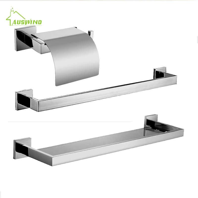 SUS 304 набор из нержавеющей стали для ванной комнаты, настенный держатель для полотенец/держатель для бумаги/Крючок для халата/полка для ванной
