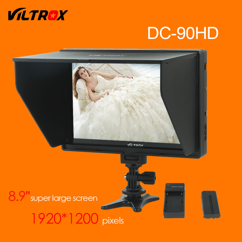 Viltrox DC 90HD 8 9 Super Large Screen LCD HDMI AV Camera Video Monitor Display Battery