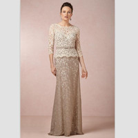 Elegant Lace Three Quarter Sleeve Long Evening Dresses Floor Length Mother Of The Bride Dresses Party Gowns
