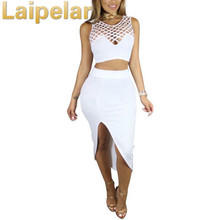 Autumn Sexy 2 Piece Skirt Set Bodycon Sleeveless Crop Top And Women Summer Outfits Night Club Two Laipelar