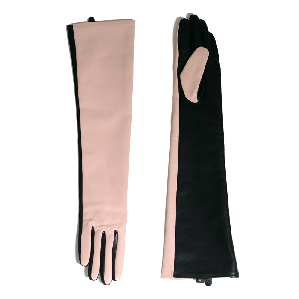Women's Ladies Real leather Color splicing Overlength Customized Pink Party Evening gloves long gloves
