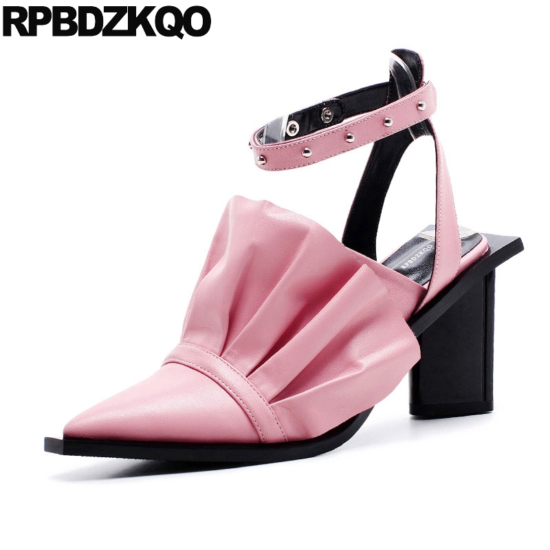 Sandals Chunky Pink Thick Ankle Strap Genuine Leather High Heels Pumps Slingback Stud Closed Toe Designer Shoes Women Luxury fedonas shoes women thick high heels slingback ankle strap shoes woman genuine leather pointed toe summer sandals women
