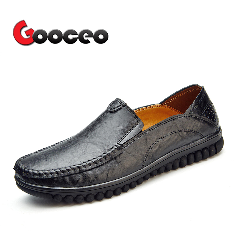 Mens Penny Loafers Driving For Men Summer Spring Low-top Slip-On Cow Genuine Leather Air Hole Flat Formal Dress Breathable Mens