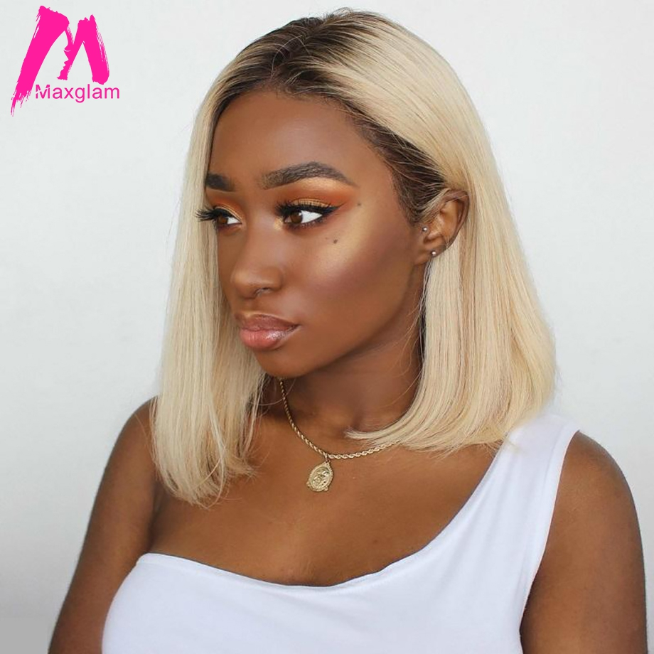 Ombre Human Hair Wig Blonde 613 Lace Front Wig Brazilian Short Bob 13x4 lace front human