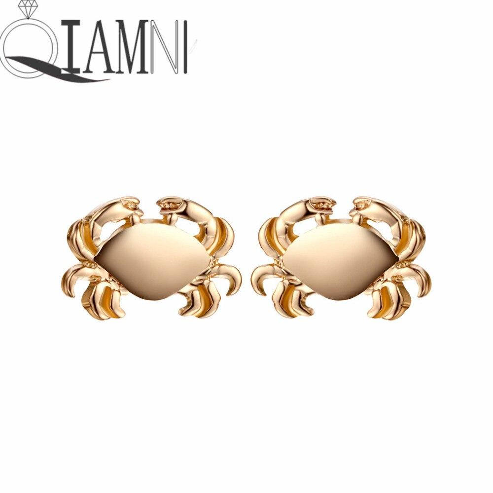 QIAMNI Cute Ocean Inspired Crab Animal Piercing Stud Earring Christmas Party Gift Jewelry Girls Women Men Charm Pendientes