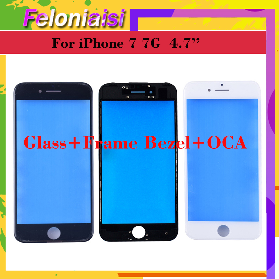 10Pcs/lot OEM Quality 3 In 1 For iPhone 7 7G Plus 7plus Front Glass+Frame Bezel+OCA Touch Screen Outer Panel Lens Repair Part