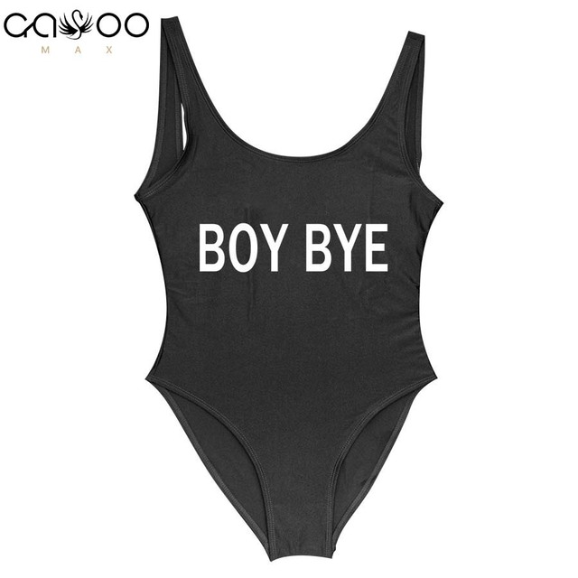 Boy Bye Fun Letter Printed Women Swimsuit One Piece Swimwear