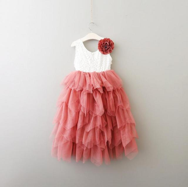 27acdd140 New Children Baby Floral Lace Mesh Long Dresses
