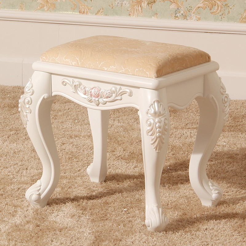 French Style Wood Dressing Stool Luxury Design For Woman Bedroom Dresser Hot Sell french workplace design