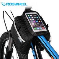 Roswheel bisiklet çerçeve ön baş en tüp su geçirmez bisiklet çanta & çift ipouch bisiklet için 5.7 inç cep telefonu bisiklet aksesuarları