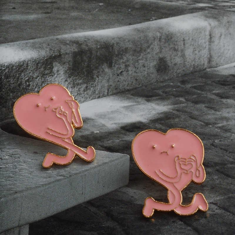 Kpop Korea Jari Jantung Pin Kekasih Finger Enamel Pin Lapel Pin Bros untuk Wanita Pria Pink Jantung Perhiasan