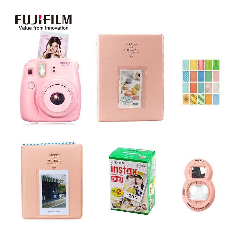 цена Fujifilm Fuji Instax Mini 8 Instant Film Photo Camera + Close-up Lens + 20 Sheets Film + 36 Pockets with 128 Pockets Photo Case