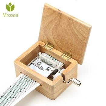 15 톤 DIY 손으로 크랭크 음악 상자 나무 상자 구멍 펀치와 10 pcs 종이 테이프 음악 움직임 상자 종이 스트립