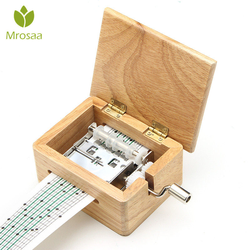 15 Tone DIY Hand-cranked Music Box Wooden Box With Hole Puncher And 10 pcs Paper Tapes Music Movements Box paper strip