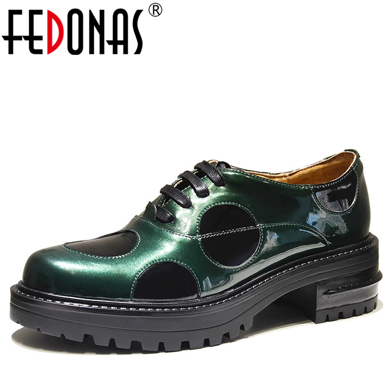 FEDONAS Punk Women Pumps Genuine Leather Shoes Thick High Heels Round Toe For Leisure Comfort Shoes Woman Lace Up New Pumps women s genuine leather patchwork lace up pumps brand designer thick high heel spring autumn high quality punk shoes for women