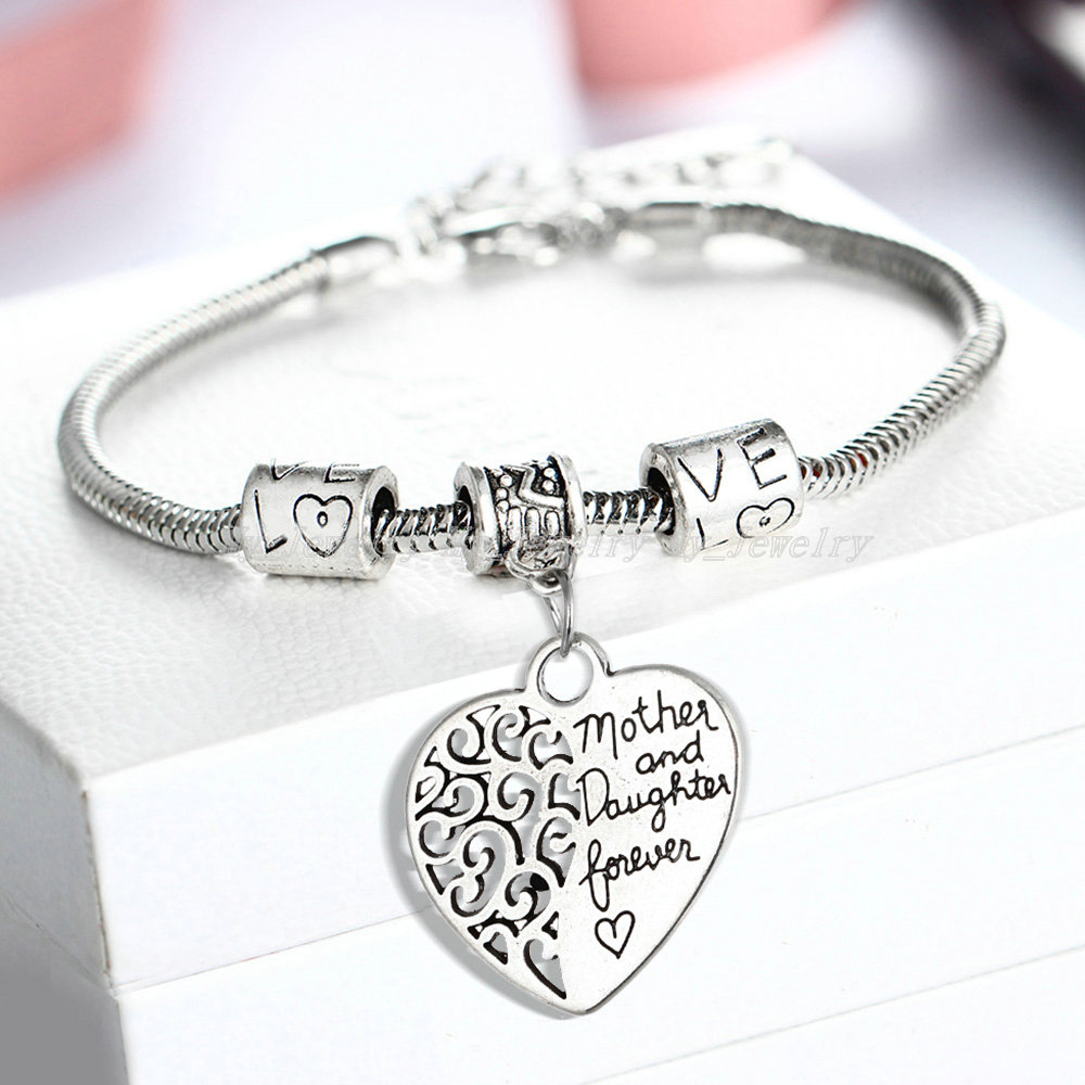 Charms And Bracelets: Heart Mother And Daughter Bracelet Charm Love Beads
