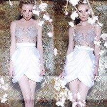 Sexy Weißen Kristall Perlen Tiered Sheer Neck Cocktailkleider 2016 Über Knie Short Mantel Cocktailkleid robe de cocktail