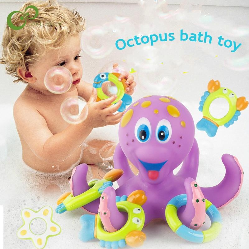 6pcs Set Soft Plastic Octopus Baby Bath Toy Throwing