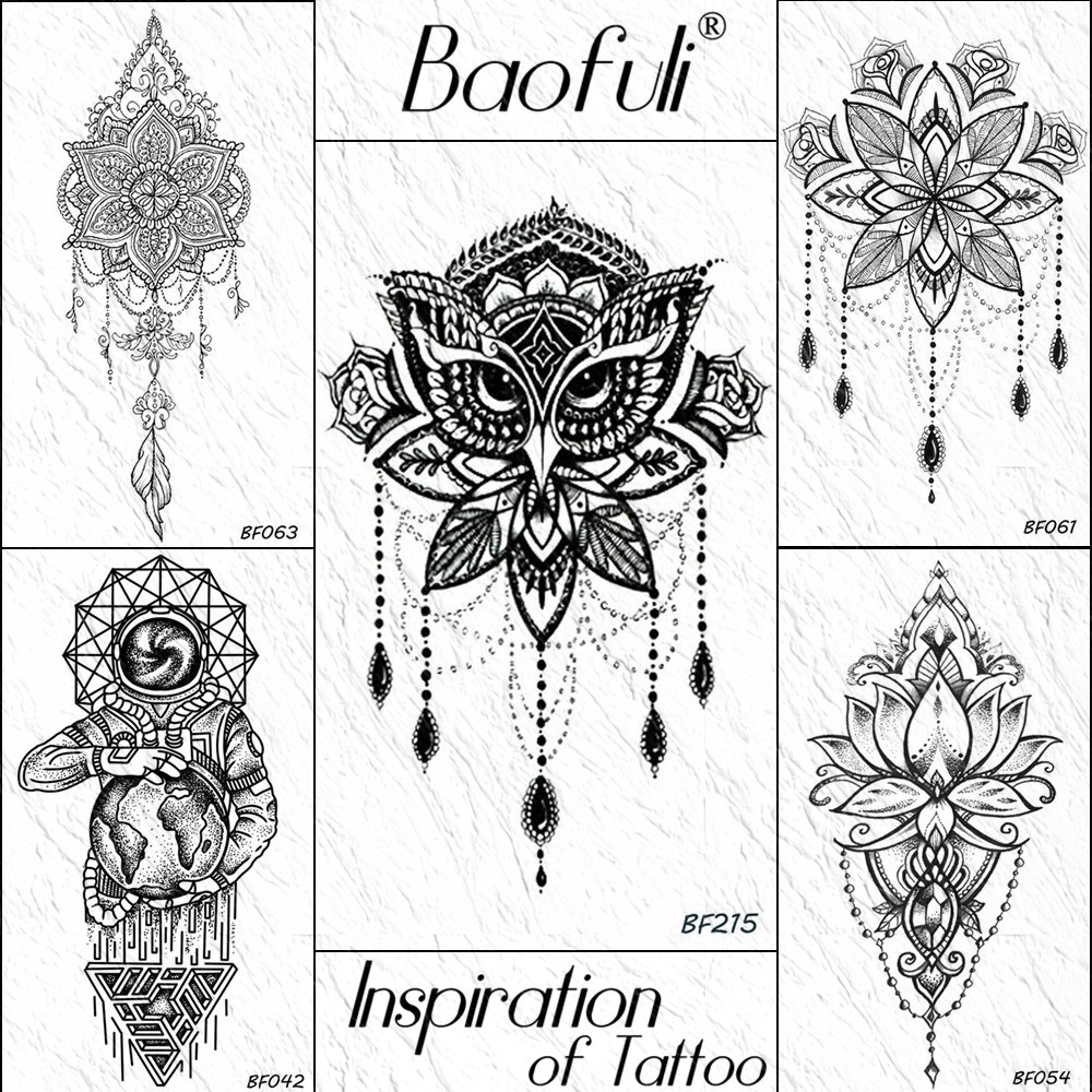 Baofuli Black Henna Owl Geometric Mandala Flower Temporary Tattoo Sticker Body Art Arm Fake Tattoos  Women Men Waterproof Tatoo