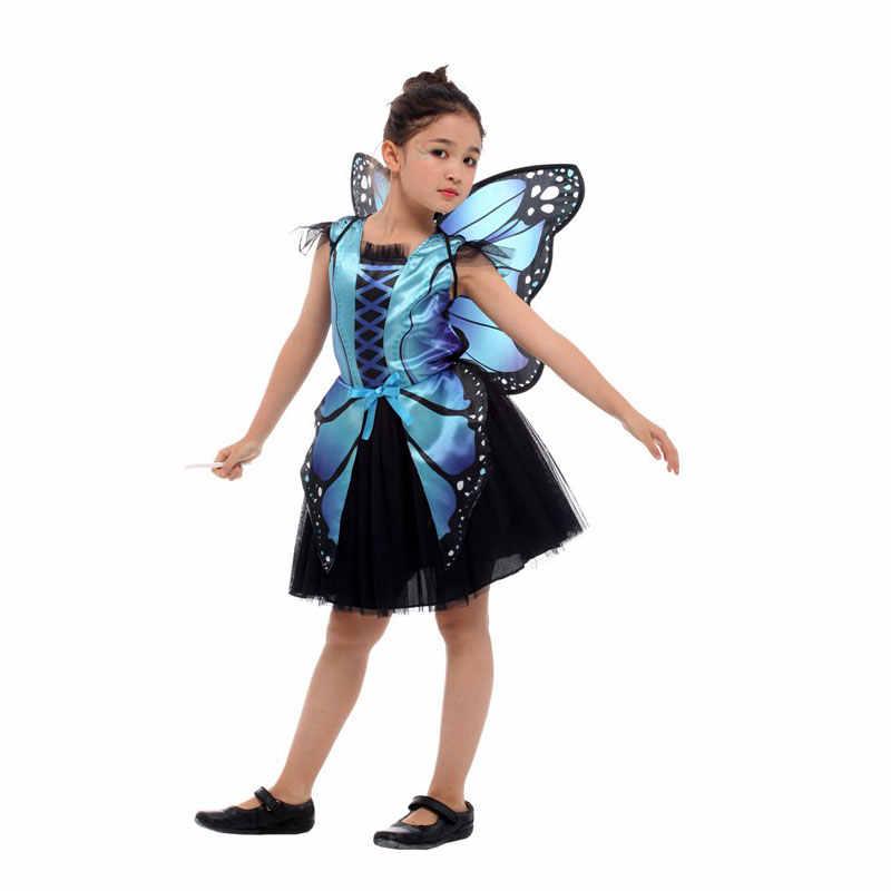 Umorden/вечерние костюмы Феи на Хэллоуин с бабочкой для девочек; Детский костюм принцессы с розовым и синим эльфом и бабочкой; платье для костюмированной вечеринки с крылом