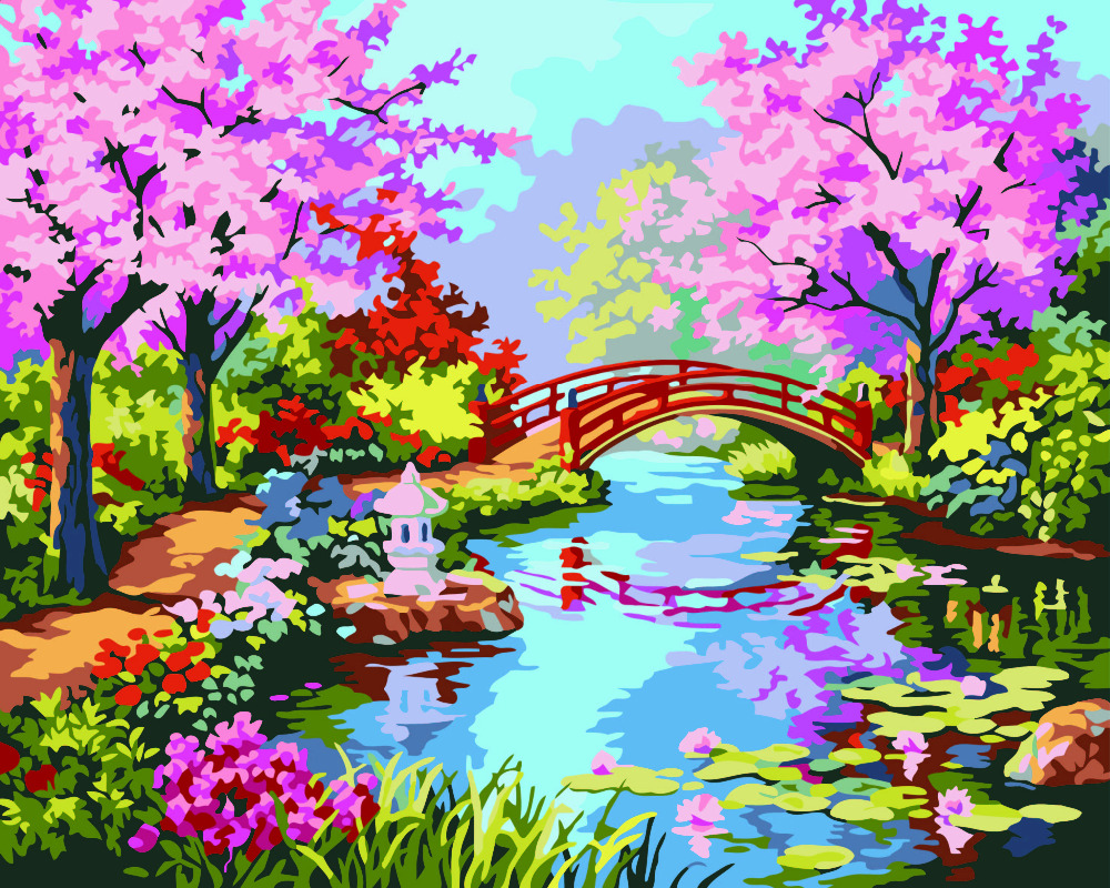 Japanese garden flowers lake garden spring beautiful art - Hq Japanese Cherry Purple Flower Garden Painting By Hand Home Decoration Oil Painting Pictures By Numbers