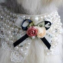 Мода Жемчуг Цветок Кружева повязка с бантом маленькая кошка собака щенок воротники, ожерелье воротник Перро