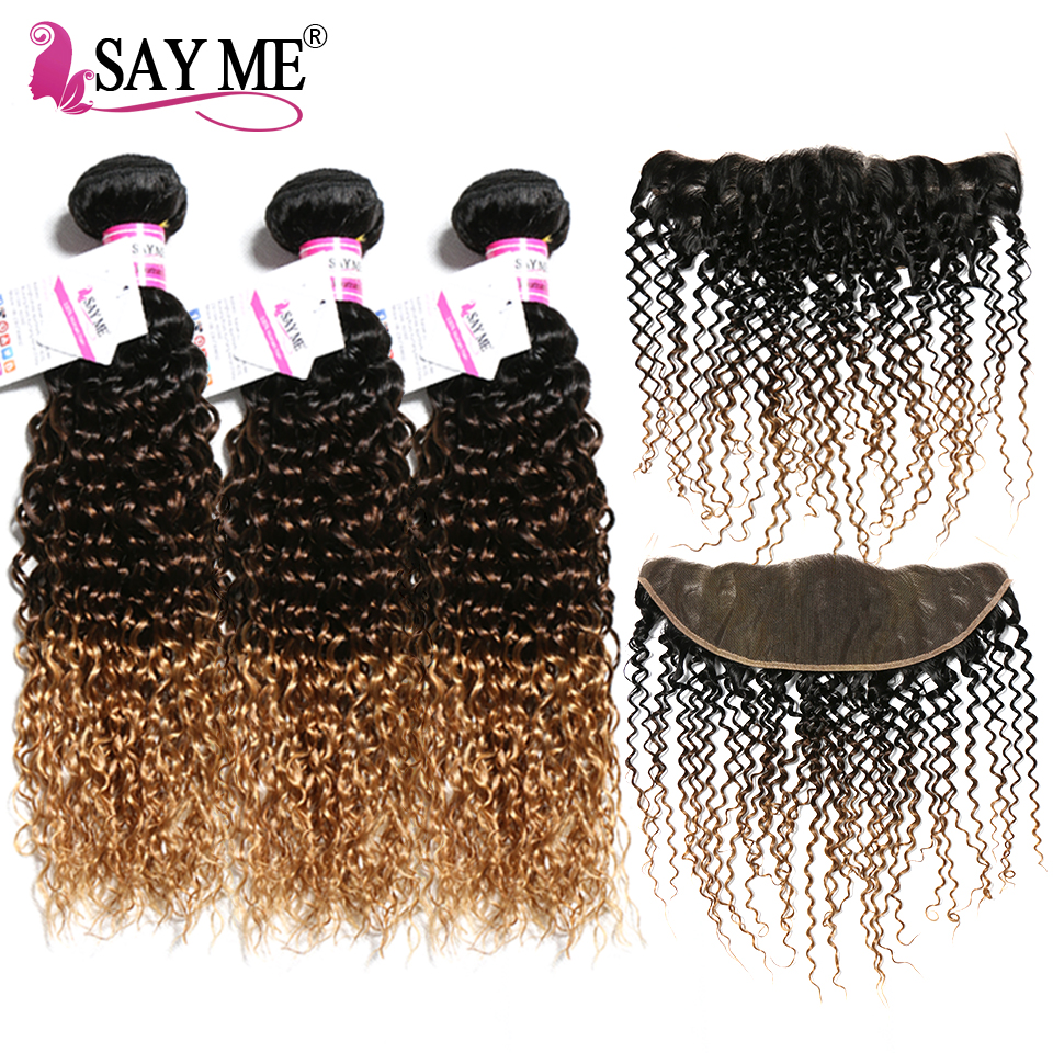 Mongolian Kinky Curly Hair Bundles With Closure Remy Human Hair 3 Bundles With Frontal Blonde Ombre