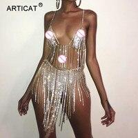 Articat Metal Chain Crystal Diamonds Sexy Dress Women Summer Tassel Sequins Luxury Sparkling Nightclub Party Dresses Vestidos