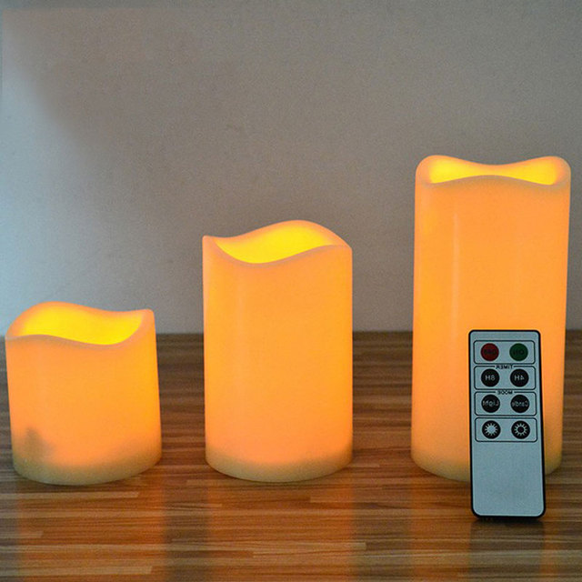 Set Of 3 Amber Flameless Battery Operated Candles With Remote