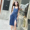 Джинсовое платье на бретелях для женщин 2018 лето осень модные синие длинные джинсовые платья Сарафан комбинезоны наивысшего качества Vestidos 9370 # - фото