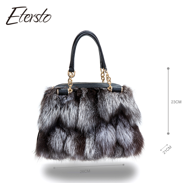 Etersto 2017 New Women Silver Fox Fur Leather Messenger Bags Fashion Solid Female Flap Bags High Quality Ladies Crossbody Bags