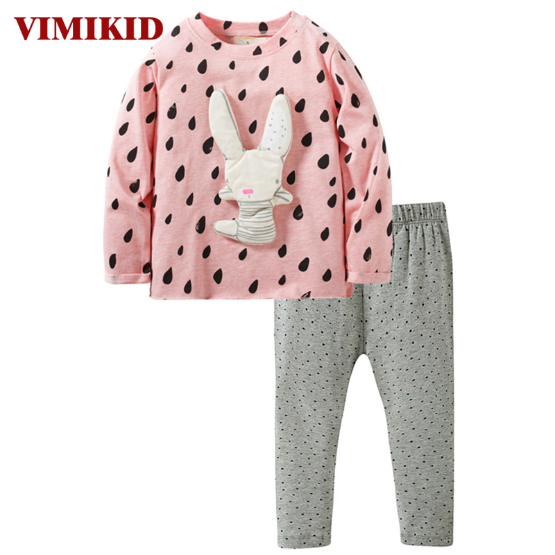 VIMIKID 2017 baby girls clothing sets autumn long sleeve rabbit print cotton clothes suits for girls children clothes kids se