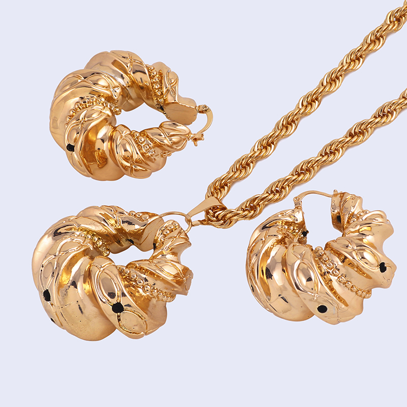 Ethlyn Rose Gold Color Nigerian Wedding Jewelry Hollow Light Round