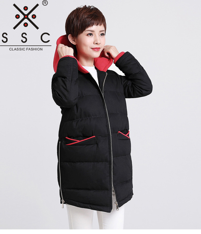 SSC 2017 New Women Stitching Long Leisure Winter Jacket Plus Size Warm Cotton Coat Knitting Hooded Collar Female Parkas 651 winter jacket female parkas hooded fur collar long down cotton jacket thicken warm cotton padded women coat plus size 3xl k450