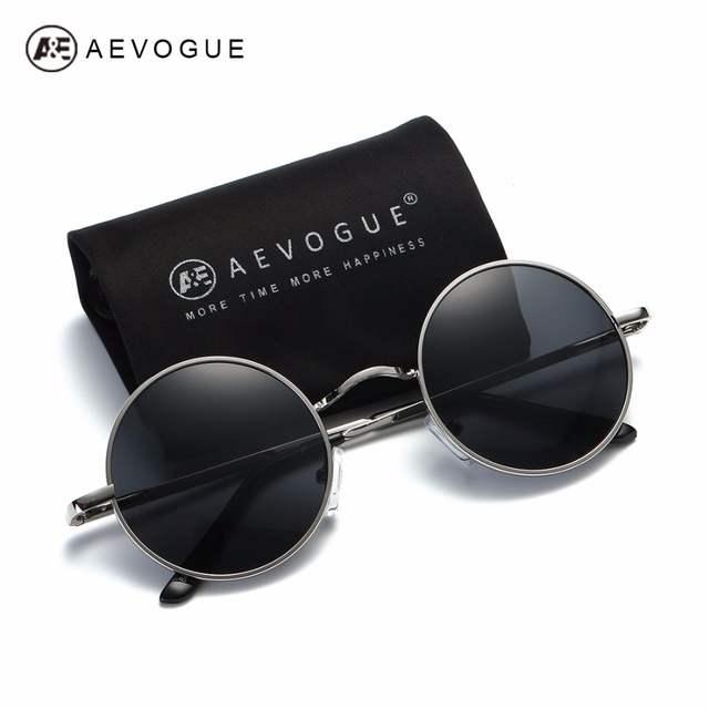 AEVOGUE Polarizada Óculos De Sol Para Homens Mulheres Pequeno Rodada Frame  Da Liga de Verão 9ad1c12d7f