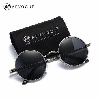Aevogue 편광 선글라스 남자/여자 작은 라운드 합금 프레임 여름 스타일 unisex 태양 안경 uv400 ae0518