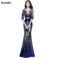 Robe De Soiree Evening Party Dress Real Photos Royal Blue Party Occasion Formal sequin Long Evening Dress