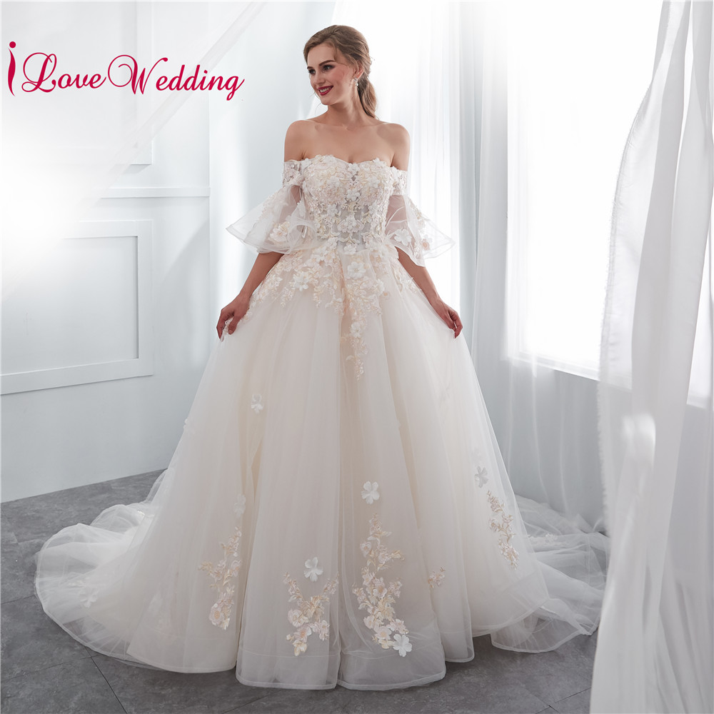 ILoveWedding 2019 Off The Shoulder 3D Flowers Lace