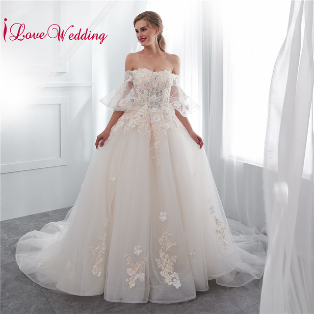 c4fb641d6d86 iLoveWedding 2019 Off the Shoulder 3D Flowers Lace Applique Flare Sleeves  Ball Gown White Bridal Wedding Dress