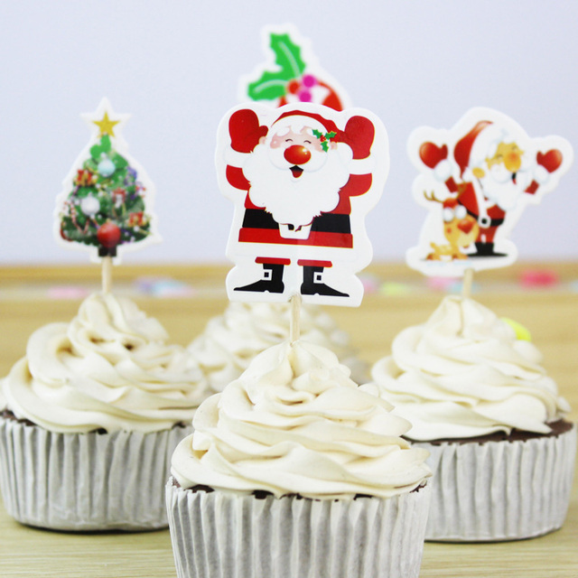 24pcs/lot Christmas Cupcake Toppers Cute Santa Claus/ Tree/ Animals Cupcake Decorations Happy Birthday Baby Shower Party Supplie
