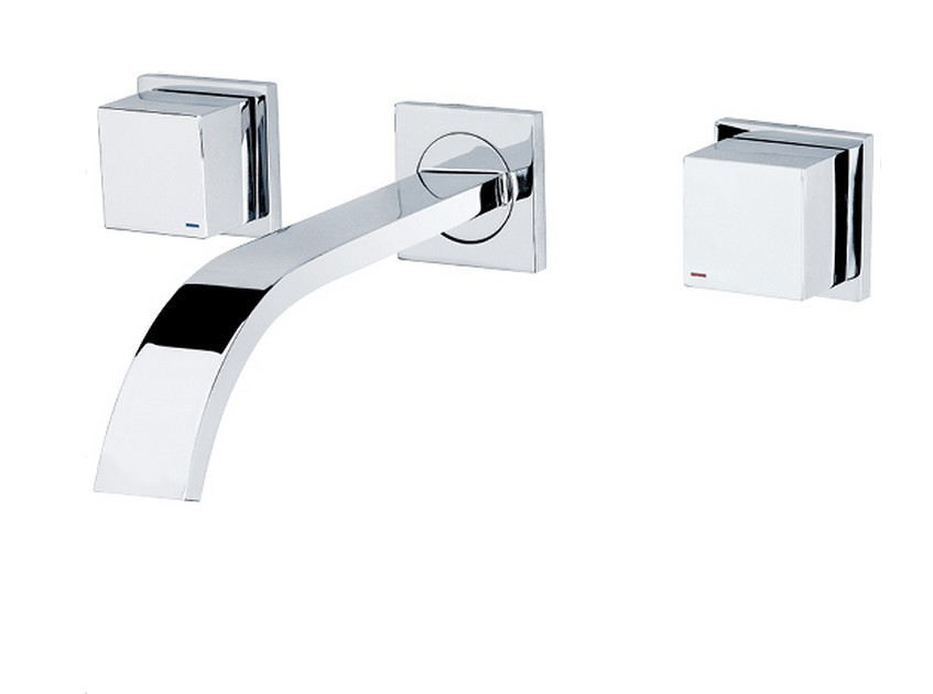 Free shipping Chrome clour wall mounted bathroom basin faucet wall faucet in bathroom double handles faucet BF005 free shipping gold clour wall mounted vessel sink faucet basin waterfall faucet