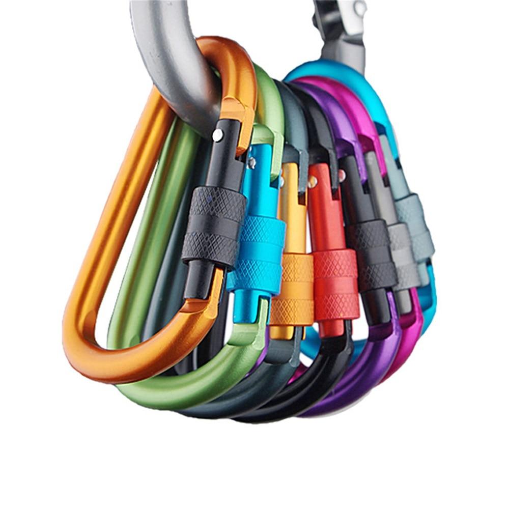 SPORTSHUB 8cm Aluminum Carabiner Quickdraws D-Ring Key Chain Clip Camping Keyring Snap Hook Outdoor Travel Kit NR0095-1