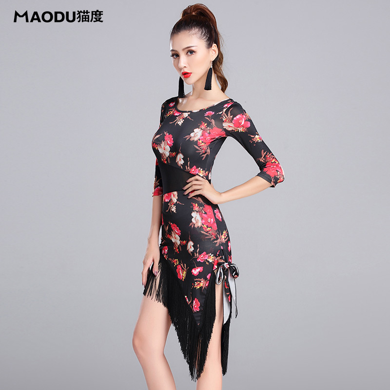 Flower Print Irregular Slim Cheongsam Gauze Tassel Sexy Latin Dance One-piece Dress For Women/Female, Ballroom Costumes MD7156