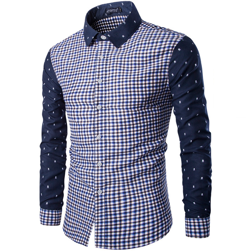 2017 Brand Autumn long-sleeve plaid men shirt skull red blue color block patchwork fashion slim shirt men